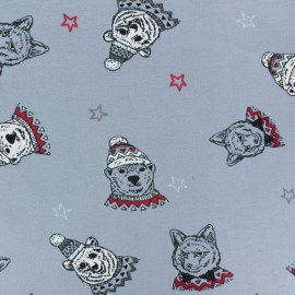 Cotton jersey fabric - bluish grey Winter spirit x 10cm