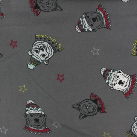 Cotton jersey fabric - dark grey Winter spirit x 10cm