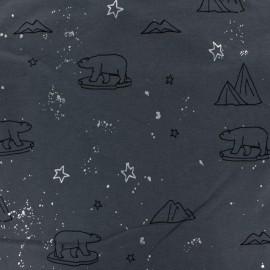 Cotton jersey fabric - dark grey Artic Bear x 10cm