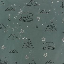Cotton jersey fabric - Green Artic Bear x 10cm
