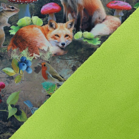 Tissu Softshell Fall Time - vert x 10cm