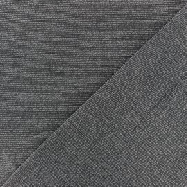 Lurex Viscose Jersey Fabric - dark grey fine stripes x 10cm