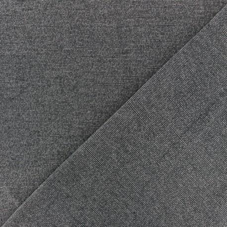 Lurex Viscose Jersey Fabric - dark grey fine stripes x 10cm
