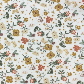 Poplin Cotton fabric - white Autumn flowers x 10cm