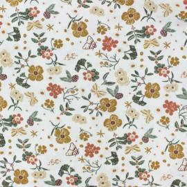 Tissu coton popeline Fleurs d'automne - blanc x 10cm