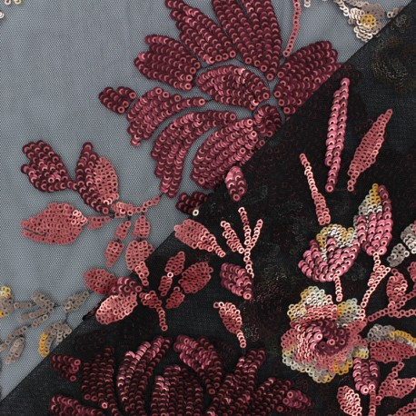 Sequin Embroidered tulle fabric - black Mariah x 50 cm