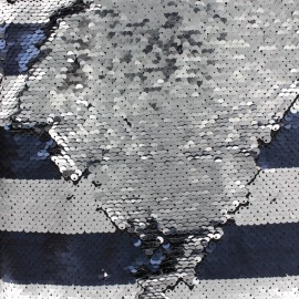 Tissu rayé sequins réversibles Charlie - bleu/argent x 10cm