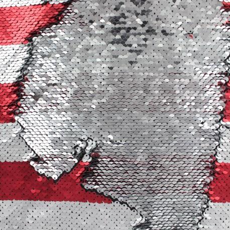 Tissu rayé sequins réversibles Charlie - rouge/argent x 10cm