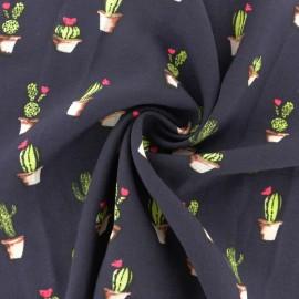 Tissu Viscose Cactus - bleu marine x 10cm