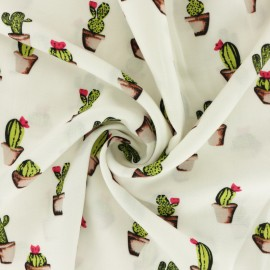 ♥ Coupon 10 cm X 140 cm ♥  Viscose Fabric - white Cactus