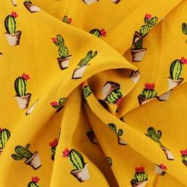Tissu Viscose Cactus - jaune x 10cm