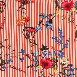 Tissu Viscose mini pois - rouge x 10cm