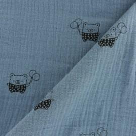 ♥ Coupon 10 cm X 130 cm ♥ Tissu double gaze de coton MPM Ourson - bleu