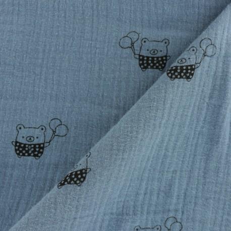 Tissu double gaze de coton MPM Ourson - bleu