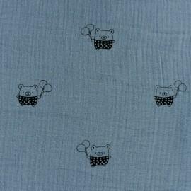Tissu double gaze de coton MPM Ourson - bleu x 10cm