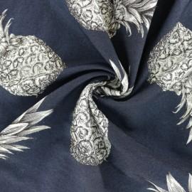 Tissu viscose Ananas - bleu marine x 10 cm
