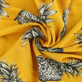 Tissu viscose Ananas - jaune moutarde x 10 cm