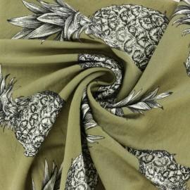 Viscose fabric - Khaki green Pineapple x 10 cm