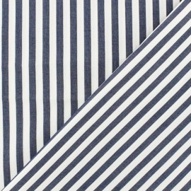 Big Stipes Poplin fabric - white/navy blue x 10cm