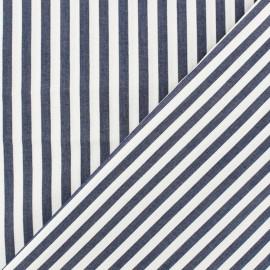 Tissu popeline Grandes rayures - blanc/bleu marine x 10cm