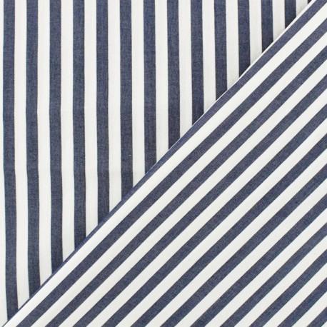 Big Stipes Poplin fabric - white/navy blue x 10cm