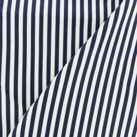 Striped Poplin fabric - white/navy blue x 10cm