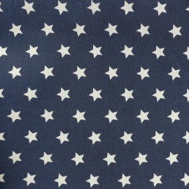 Cotton Poplin fabric - white/navy blue Lucky Star x 10cm