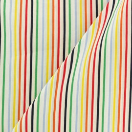 Striped Cotton Poplin fabric - multi x 10cm