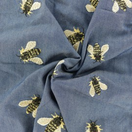 Light Viscose fabric - medium blue Bee x 10cm