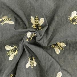 Light Viscose fabric - black Bee x 10cm