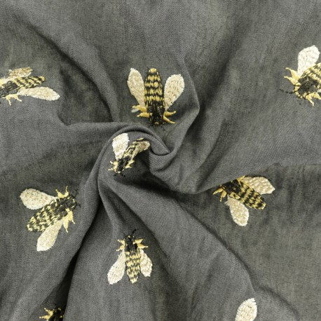 Tissu Viscose Chambray Bee - noir x 10cm