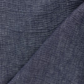 ♥ Coupon 10 cm X 140 cm ♥ Embossed cotton chambray fabric - blue x 10cm