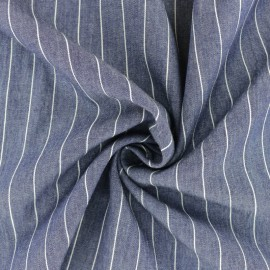 Striped cotton chambray fabric - blue x 10cm