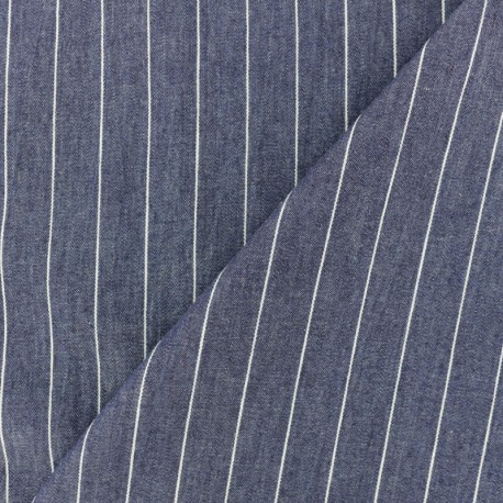 Embossed cotton chambray fabric - blue x 10cm
