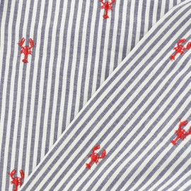 Embroidered Striped Poplin fabric - red lobster x 10cm