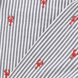 Tissu popeline brodé homard - bleu x 10cm