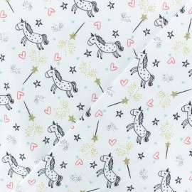 Poppy Jersey fabric - white Unicorn dream x 10cm