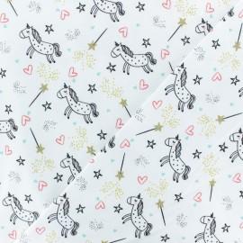 Tissu jersey Poppy Believe in unicorn - blanc x 10cm