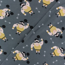 Poppy Jersey fabric - Grey Mister Muscle x 10cm