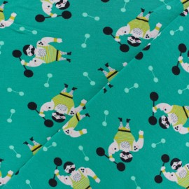 Poppy Jersey fabric - green Mister Muscle x 10cm