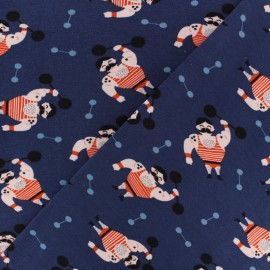 Tissu jersey Poppy Monsieur Muscle - bleu marine x 10cm