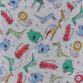 Tissu jersey Poppy Little zoo - gris chiné x 10cm