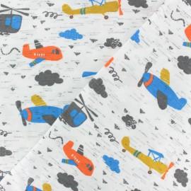 Tissu jersey Poppy Avion - écru x 10cm