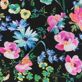Tissu jersey Poppy Bouquet d'aquarelle - blanc x 10cm