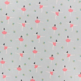 Cotton poplin fabric Poppy - white Ballerina x 10cm