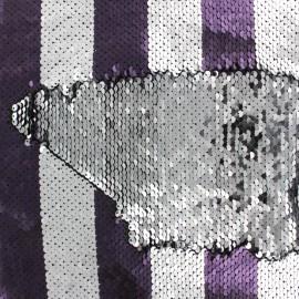 Tissu rayé sequins réversibles Charlie - violet/argent x 10cm