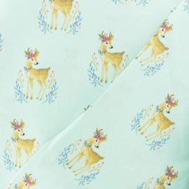 Tissu coton popeline Poppy Woodland Deer- rose x 10cm