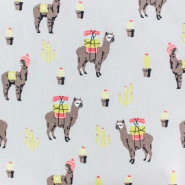 Cotton poplin fabric Poppy - grey peruvian llama x 10cm