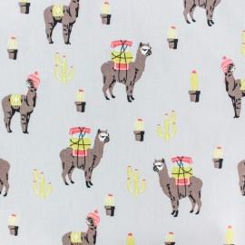 Tissu coton popeline Poppy lama péruvien - gris x 10cm