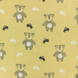 Cotton poplin fabric Poppy - yellow cute bear x 10cm